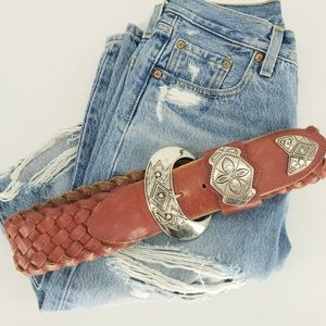 Made in Mexico Vintage Red Leather Braided Belt